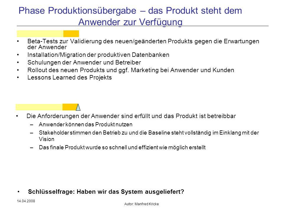 14.04.2008 Autor: Manfred Kricke Beta-Tests zur Validierung des neuen/geänderten Produkts gegen die Erwartungen der Anwender Installation/Migration de