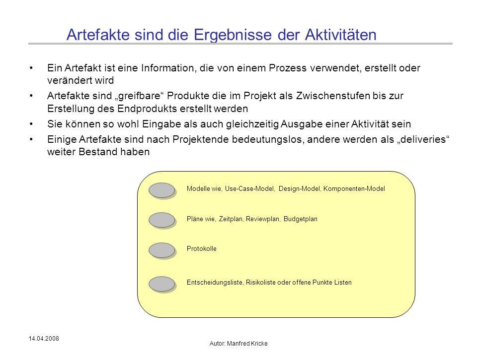 14.04.2008 Autor: Manfred Kricke Artefakte sind die Ergebnisse der Aktivitäten Ein Artefakt ist eine Information, die von einem Prozess verwendet, ers