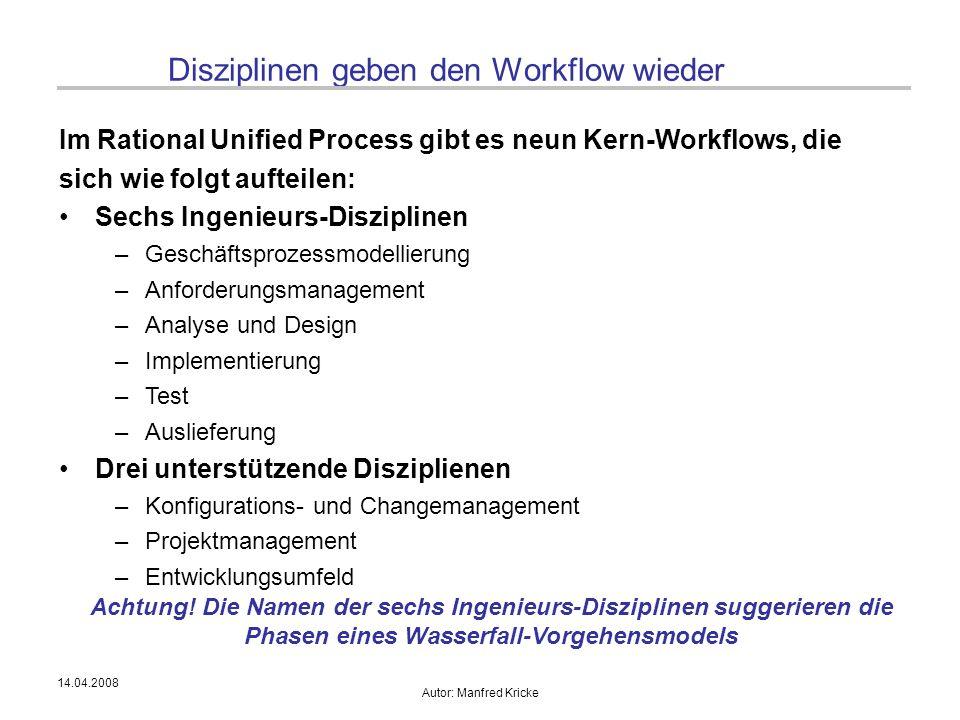 14.04.2008 Autor: Manfred Kricke Disziplinen geben den Workflow wieder Im Rational Unified Process gibt es neun Kern-Workflows, die sich wie folgt auf