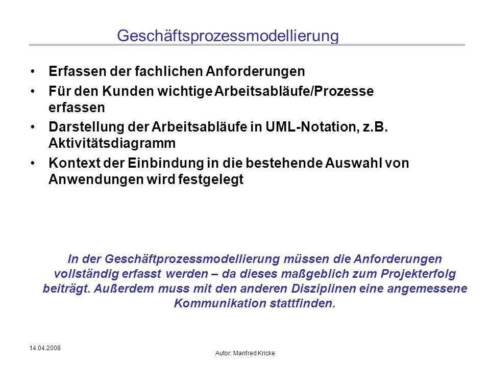 14.04.2008 Autor: Manfred Kricke Geschäftsprozessmodellierung Erfassen der fachlichen Anforderungen Für den Kunden wichtige Arbeitsabläufe/Prozesse er