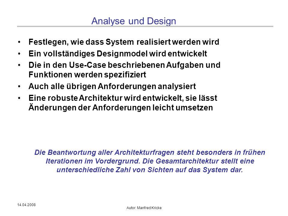 14.04.2008 Autor: Manfred Kricke Analyse und Design Festlegen, wie dass System realisiert werden wird Ein vollständiges Designmodel wird entwickelt Di