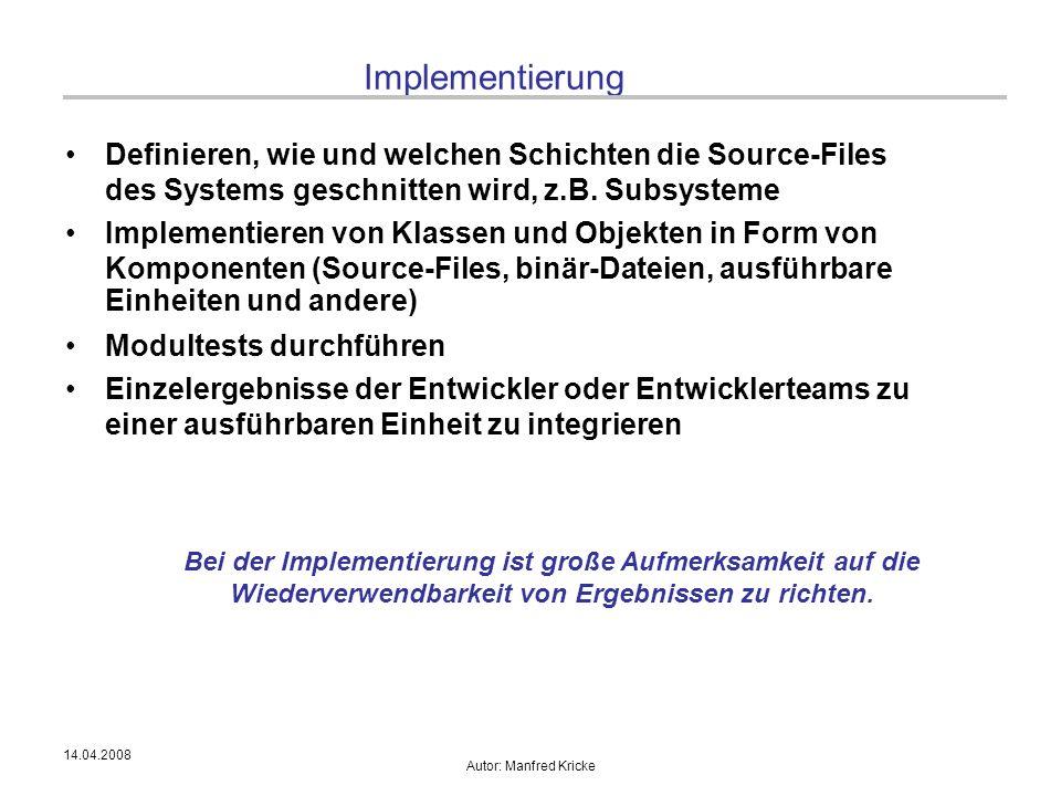 14.04.2008 Autor: Manfred Kricke Implementierung Definieren, wie und welchen Schichten die Source-Files des Systems geschnitten wird, z.B. Subsysteme