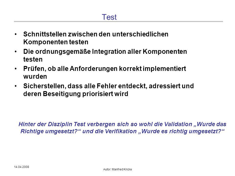 14.04.2008 Autor: Manfred Kricke Test Schnittstellen zwischen den unterschiedlichen Komponenten testen Die ordnungsgemäße Integration aller Komponente