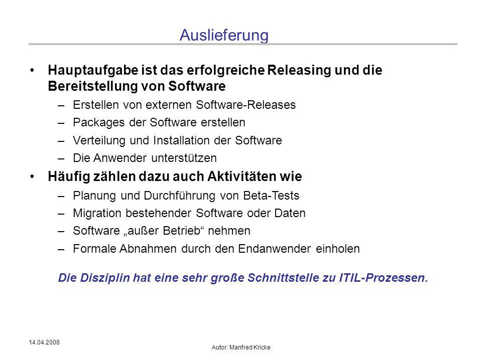 14.04.2008 Autor: Manfred Kricke Auslieferung Hauptaufgabe ist das erfolgreiche Releasing und die Bereitstellung von Software –Erstellen von externen