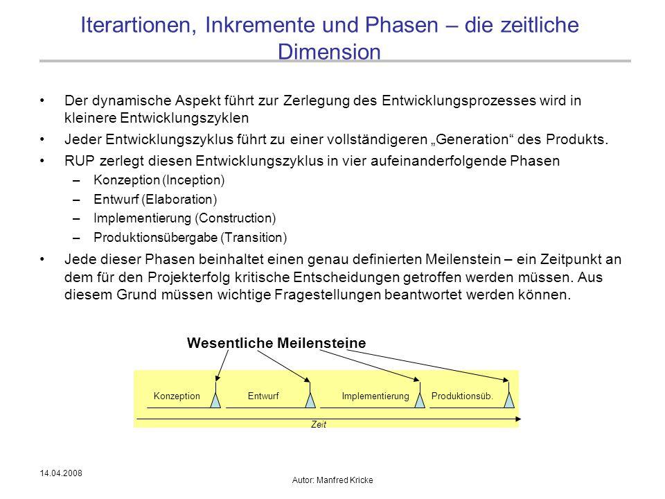 14.04.2008 Autor: Manfred Kricke Der dynamische Aspekt führt zur Zerlegung des Entwicklungsprozesses wird in kleinere Entwicklungszyklen Jeder Entwick