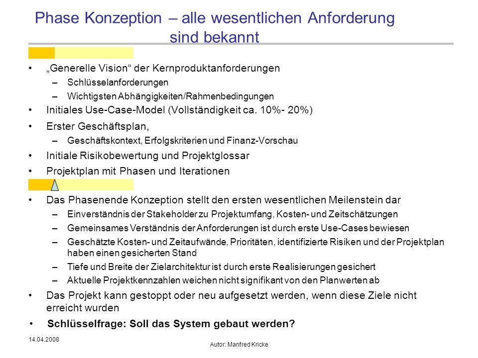 """14.04.2008 Autor: Manfred Kricke """"Generelle Vision"""" der Kernproduktanforderungen –Schlüsselanforderungen –Wichtigsten Abhängigkeiten/Rahmenbedingungen"""