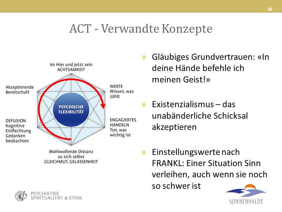 ACT - Verwandte Konzepte 33 »Gläubiges Grundvertrauen: «In deine Hände befehle ich meinen Geist!» »Existenzialismus – das unabänderliche Schicksal akz