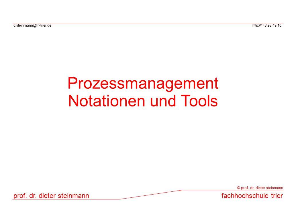 d.steinmann@fh-trier.dehttp://143.93.49.10 prof. dr. dieter steinmannfachhochschule trier © prof. dr. dieter steinmann Prozessmanagement Notationen un