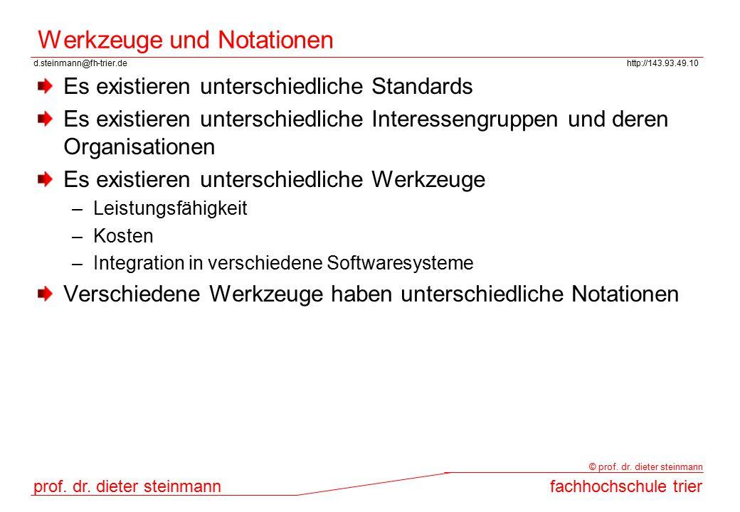 d.steinmann@fh-trier.dehttp://143.93.49.10 prof. dr. dieter steinmannfachhochschule trier © prof. dr. dieter steinmann Werkzeuge und Notationen Es exi