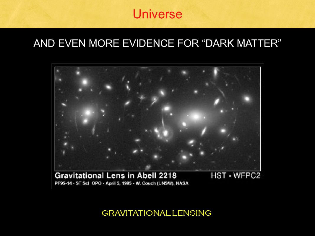 Universe GRAVITATIONAL LENSING AND EVEN MORE EVIDENCE FOR DARK MATTER