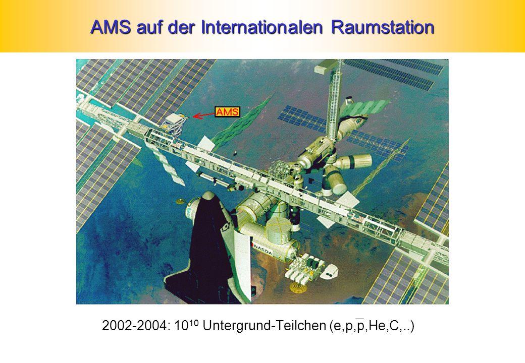 AMS auf der Internationalen Raumstation 2002-2004: 10 10 Untergrund-Teilchen (e,p,p,He,C,..)