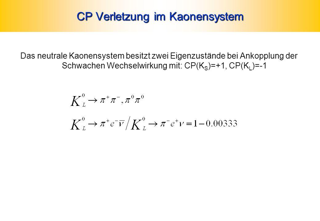 CP Verletzung im Kaonensystem Das neutrale Kaonensystem besitzt zwei Eigenzustände bei Ankopplung der Schwachen Wechselwirkung mit: CP(K S )=+1, CP(K
