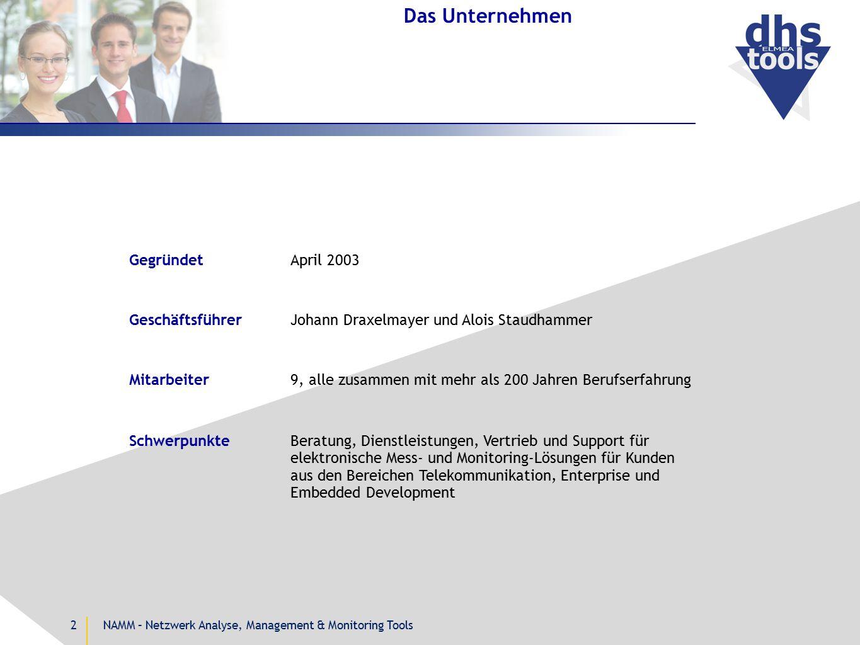 NAMM – Netzwerk Analyse, Management & Monitoring Tools2 Das Unternehmen GeschäftsführerJohann Draxelmayer und Alois Staudhammer Mitarbeiter9, alle zus