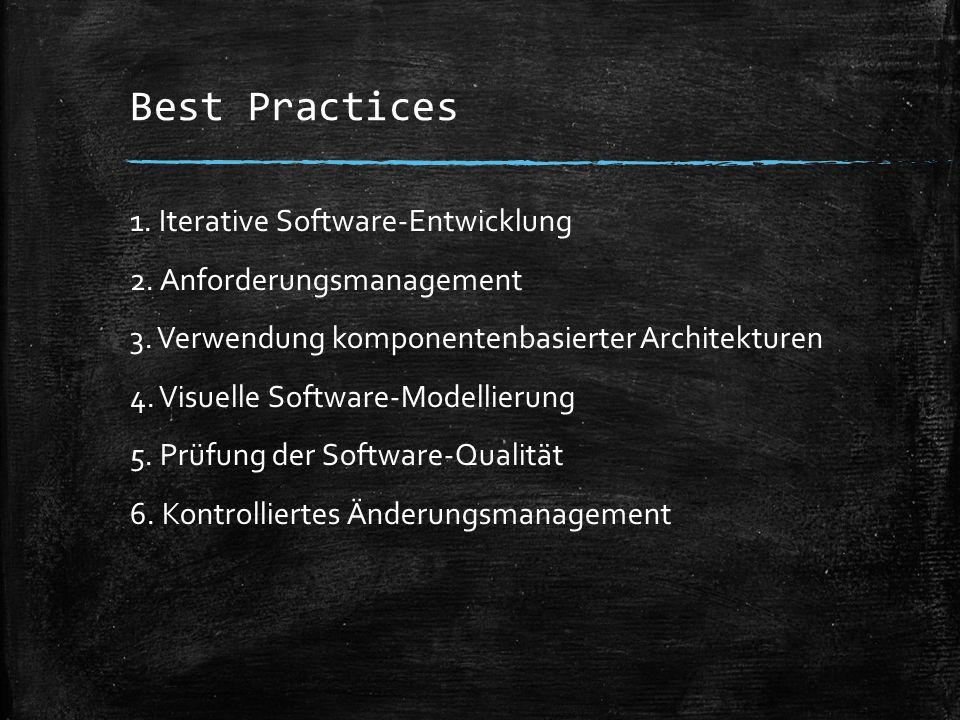 Best Practices 1. Iterative Software-Entwicklung 2. Anforderungsmanagement 3. Verwendung komponentenbasierter Architekturen 4. Visuelle Software-Model