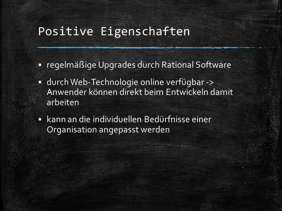 Positive Eigenschaften  regelmäßige Upgrades durch Rational Software  durch Web-Technologie online verfügbar -> Anwender können direkt beim Entwicke