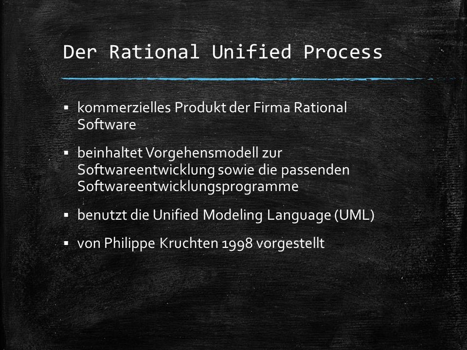 Der Rational Unified Process  kommerzielles Produkt der Firma Rational Software  beinhaltet Vorgehensmodell zur Softwareentwicklung sowie die passen