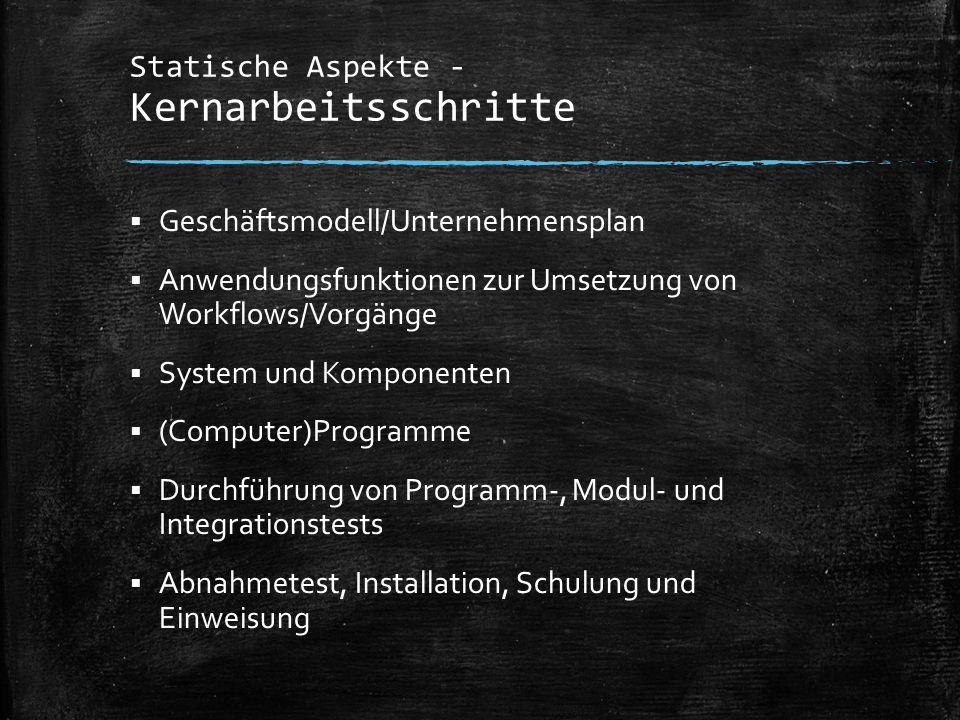 Statische Aspekte - Kernarbeitsschritte  Geschäftsmodell/Unternehmensplan  Anwendungsfunktionen zur Umsetzung von Workflows/Vorgänge  System und Ko