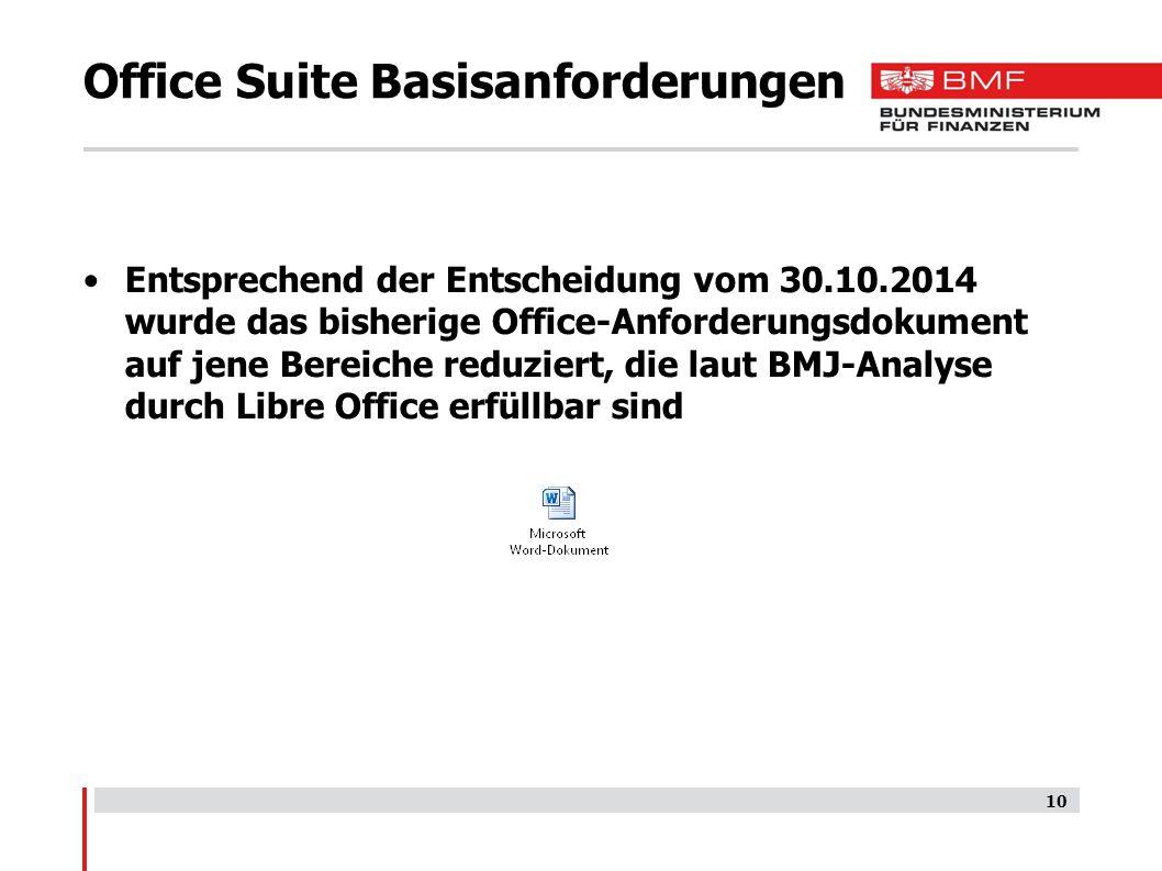Office Suite Basisanforderungen Entsprechend der Entscheidung vom 30.10.2014 wurde das bisherige Office-Anforderungsdokument auf jene Bereiche reduziert, die laut BMJ-Analyse durch Libre Office erfüllbar sind 10