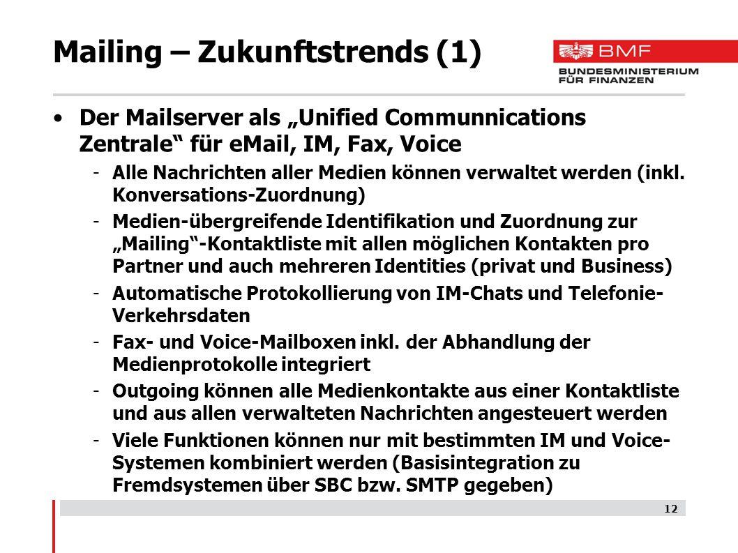 """Mailing – Zukunftstrends (1) Der Mailserver als """"Unified Communnications Zentrale für eMail, IM, Fax, Voice -Alle Nachrichten aller Medien können verwaltet werden (inkl."""