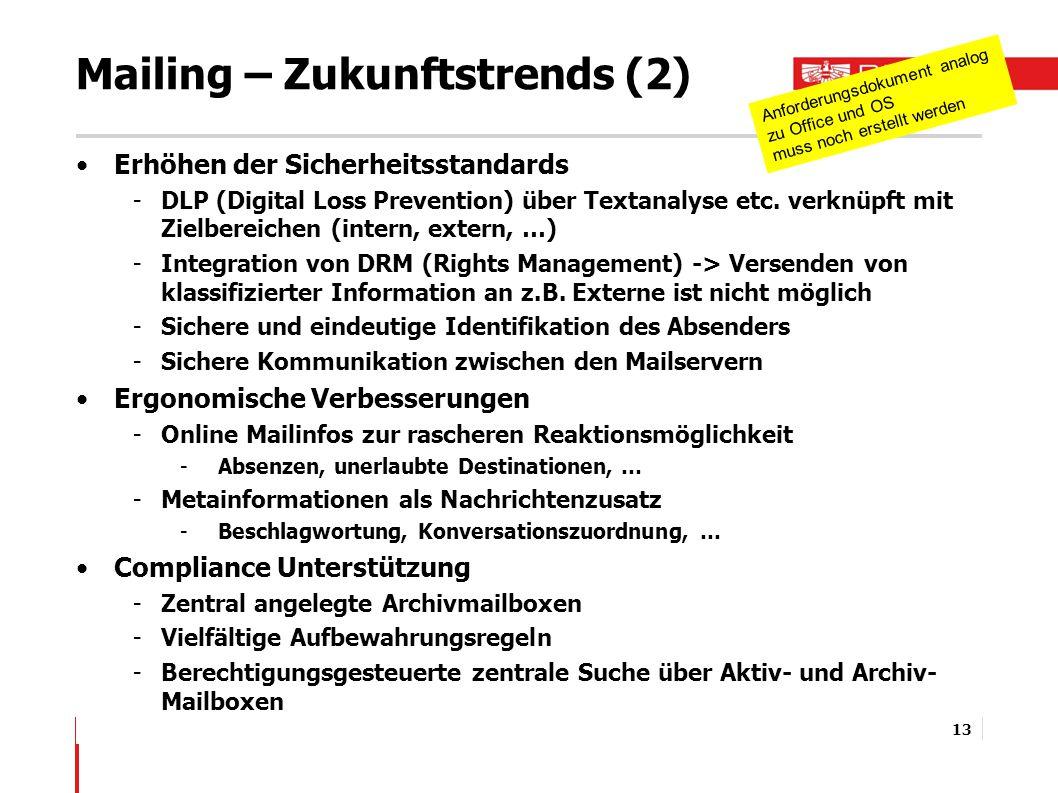 Mailing – Zukunftstrends (2) Erhöhen der Sicherheitsstandards -DLP (Digital Loss Prevention) über Textanalyse etc.
