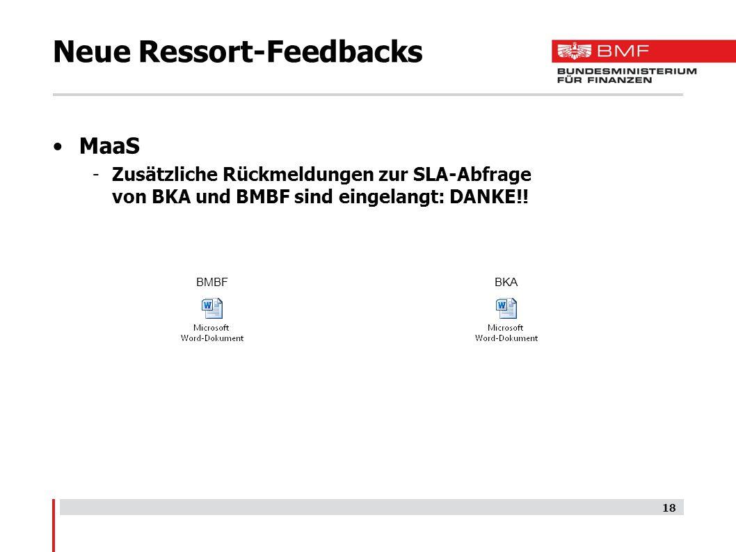 Neue Ressort-Feedbacks MaaS -Zusätzliche Rückmeldungen zur SLA-Abfrage von BKA und BMBF sind eingelangt: DANKE!.