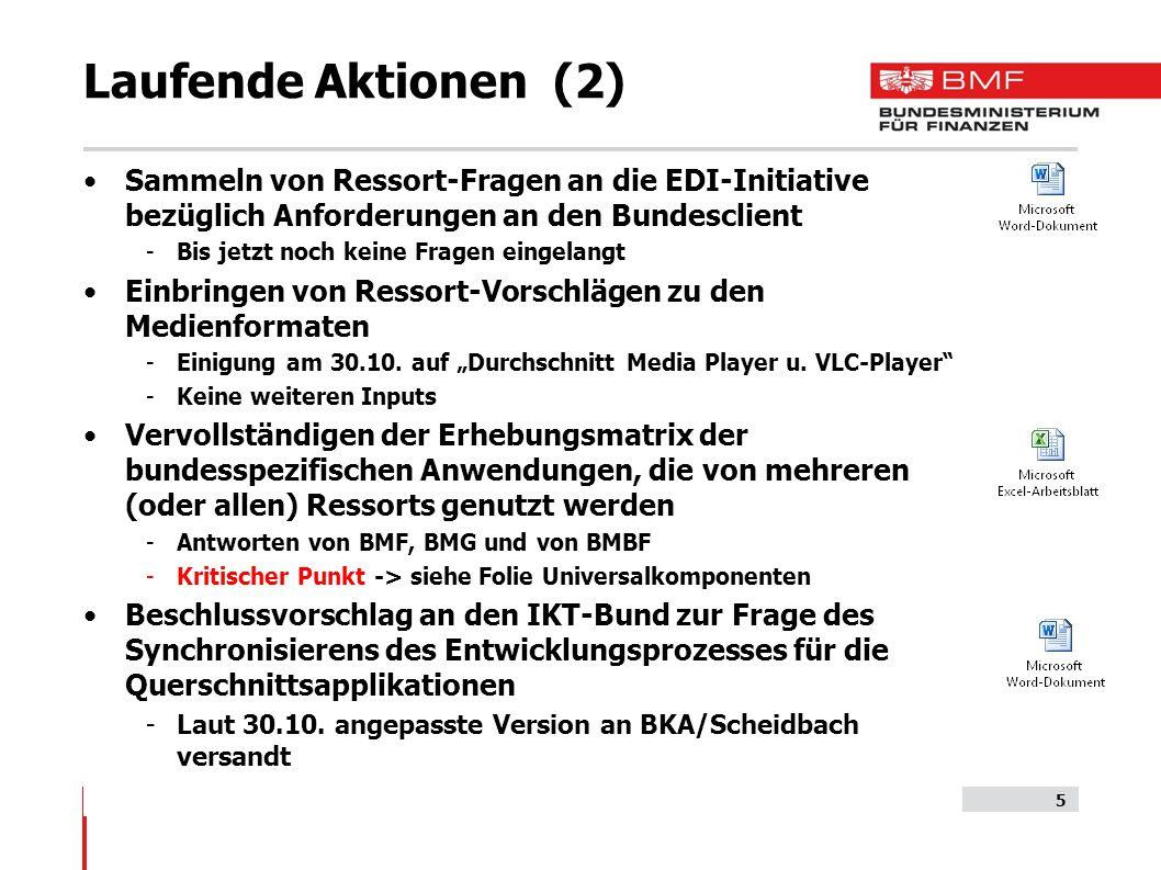 Laufende Aktionen (2) Sammeln von Ressort-Fragen an die EDI-Initiative bezüglich Anforderungen an den Bundesclient -Bis jetzt noch keine Fragen eingelangt Einbringen von Ressort-Vorschlägen zu den Medienformaten -Einigung am 30.10.
