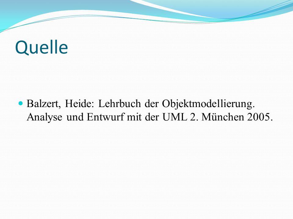 Quelle Balzert, Heide: Lehrbuch der Objektmodellierung. Analyse und Entwurf mit der UML 2. München 2005.