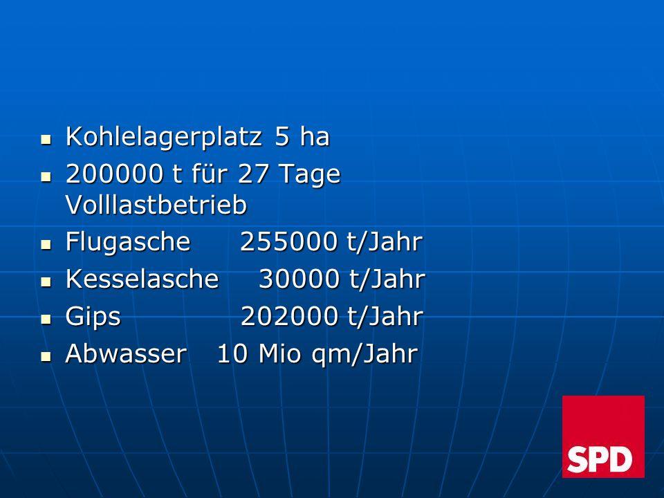Kohlelagerplatz 5 ha Kohlelagerplatz 5 ha 200000 t für 27 Tage Volllastbetrieb 200000 t für 27 Tage Volllastbetrieb Flugasche 255000 t/Jahr Flugasche