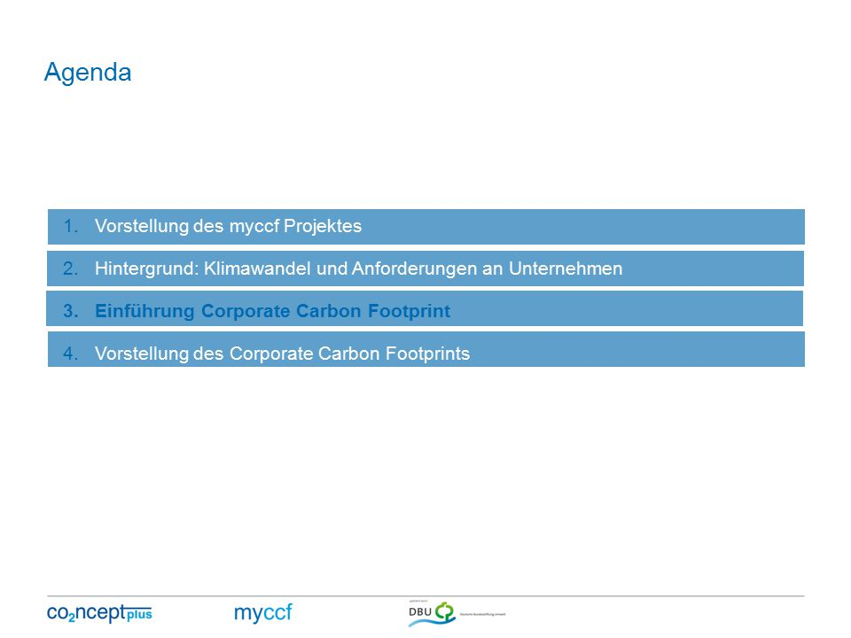 Agenda 1.Vorstellung des myccf Projektes 2.Hintergrund: Klimawandel und Anforderungen an Unternehmen 3.Einführung Corporate Carbon Footprint 4.Vorstellung des Corporate Carbon Footprints