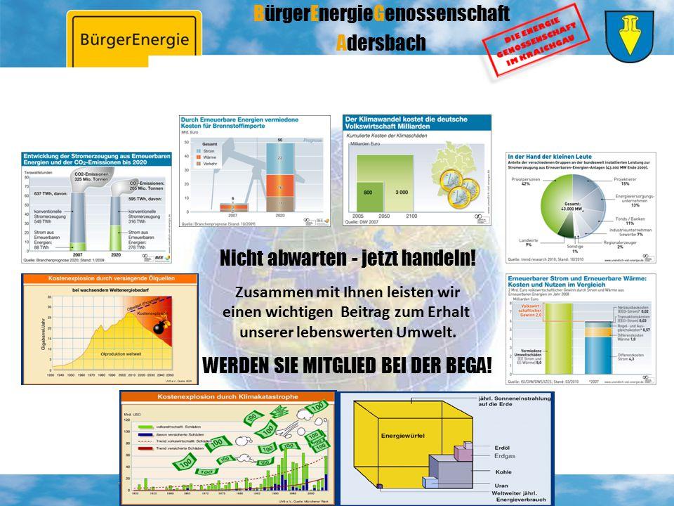 BürgerEnergieGenossenschaft Adersbach Nicht abwarten - jetzt handeln! Zusammen mit Ihnen leisten wir einen wichtigen Beitrag zum Erhalt unserer lebens