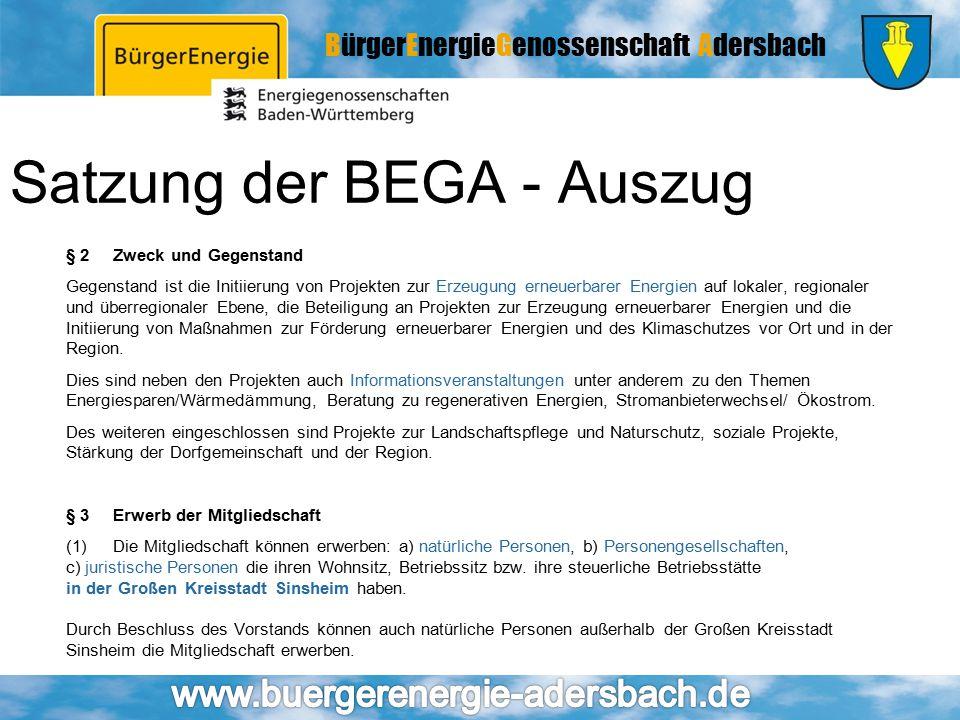 BürgerEnergieGenossenschaft Adersbach Satzung der BEGA - Auszug § 2Zweck und Gegenstand Gegenstand ist die Initiierung von Projekten zur Erzeugung ern