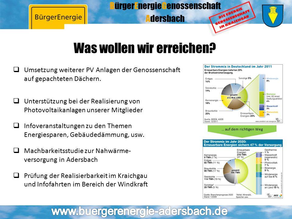 BürgerEnergieGenossenschaft Adersbach  Umsetzung weiterer PV Anlagen der Genossenschaft auf gepachteten Dächern.  Unterstützung bei der Realisierung