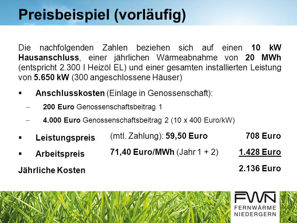 Die nachfolgenden Zahlen beziehen sich auf einen 10 kW Hausanschluss, einer jährlichen Wärmeabnahme von 20 MWh (entspricht 2.300 l Heizöl EL) und einer gesamten installierten Leistung von 5.650 kW (300 angeschlossene Häuser)  Anschlusskosten (Einlage in Genossenschaft):  200 Euro Genossenschaftsbeitrag 1  4.000 Euro Genossenschaftsbeitrag 2 (10 x 400 Euro/kW) Preisbeispiel (vorläufig)  Leistungspreis (mtl.