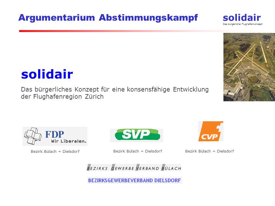 solidair Das bürgerliche Flughafenkonzept Argumentarium Abstimmungskampf solidair Das bürgerliches Konzept für eine konsensfähige Entwicklung der Flughafenregion Zürich Bezirk Bülach + Dielsdorf