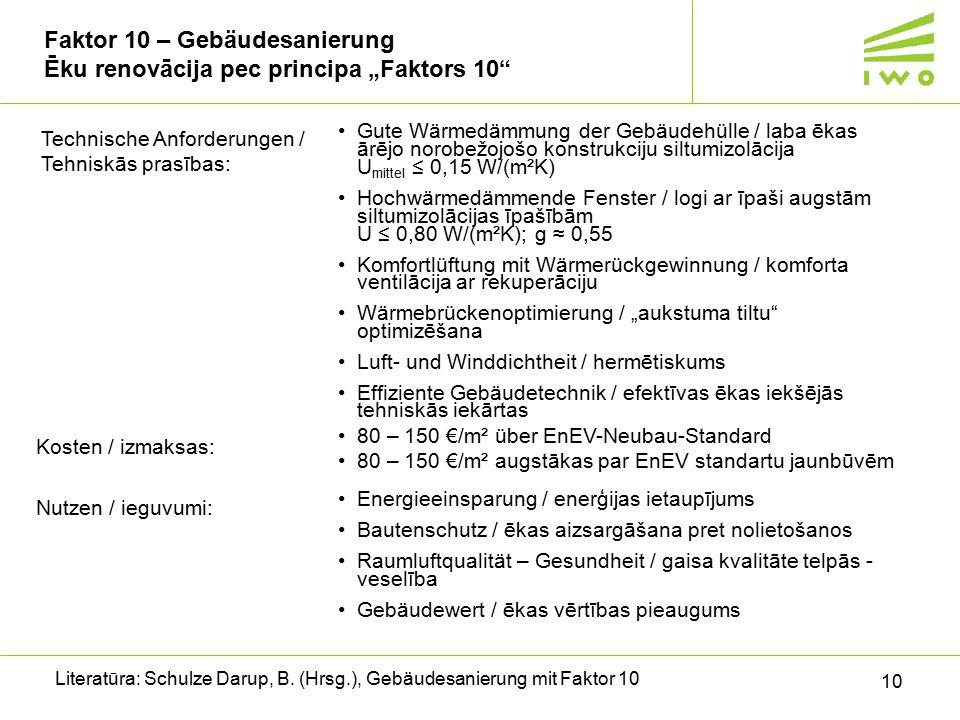 """10 Faktor 10 – Gebäudesanierung Ēku renovācija pec principa """"Faktors 10 Literatūra: Schulze Darup, B."""