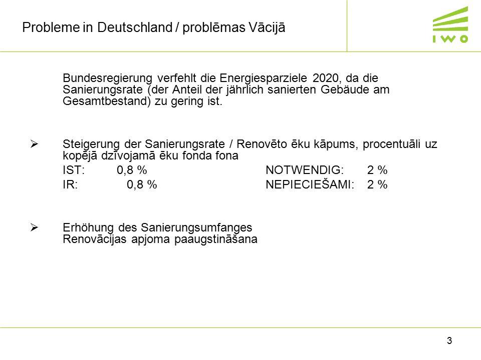 3 Probleme in Deutschland / problēmas Vācijā Bundesregierung verfehlt die Energiesparziele 2020, da die Sanierungsrate (der Anteil der jährlich sanier