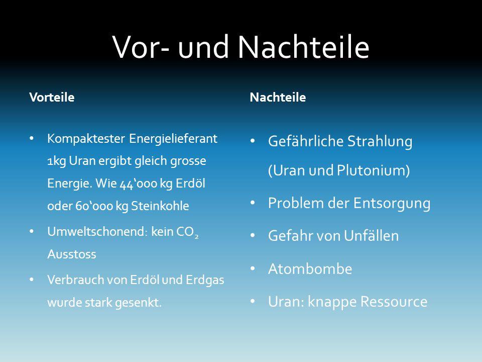 Vor- und Nachteile Vorteile Kompaktester Energielieferant 1kg Uran ergibt gleich grosse Energie.