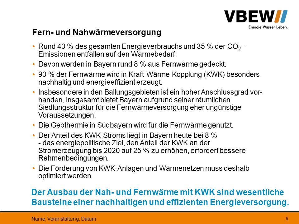 6 Kennzahlen zur Fernwärme in Bayern Die Fern- und Nahwärmeunternehmen leisten einen wichtigen Beitrag zu einer nachhaltigen und effizienten Energieversorgung.
