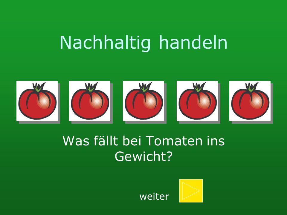 Nachhaltig handeln Was fällt bei Tomaten ins Gewicht? weiter