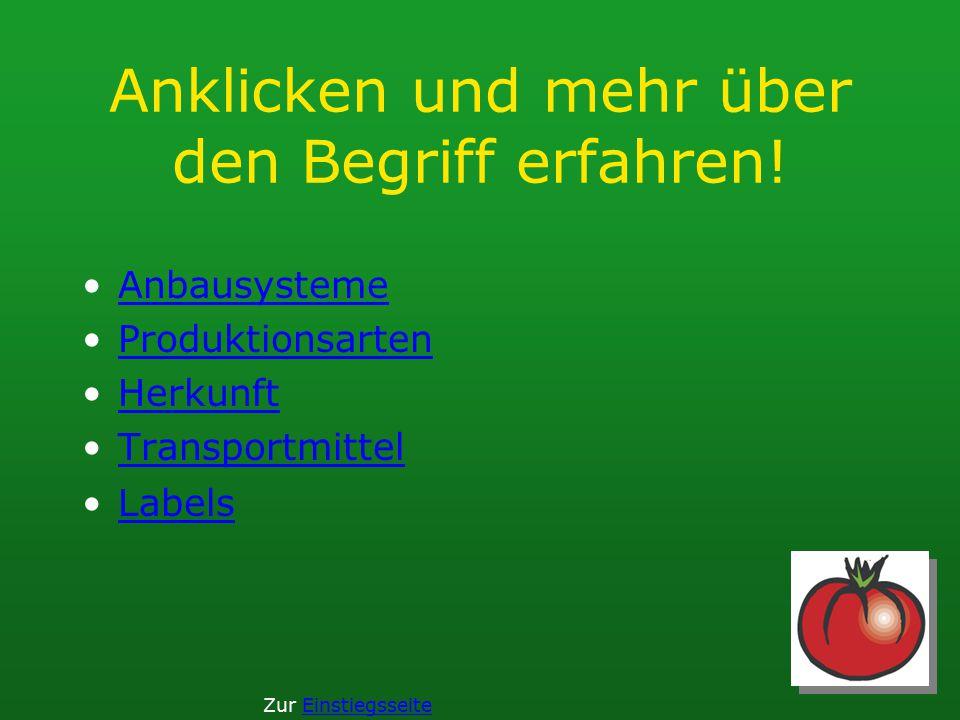 Anklicken und mehr über den Begriff erfahren! Anbausysteme Produktionsarten Herkunft Transportmittel Labels Zur Einstiegsseite
