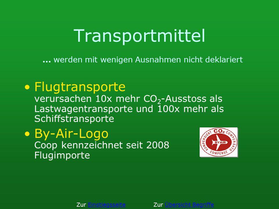 Transportmittel... werden mit wenigen Ausnahmen nicht deklariert Flugtransporte verursachen 10x mehr CO 2 -Ausstoss als Lastwagentransporte und 100x m