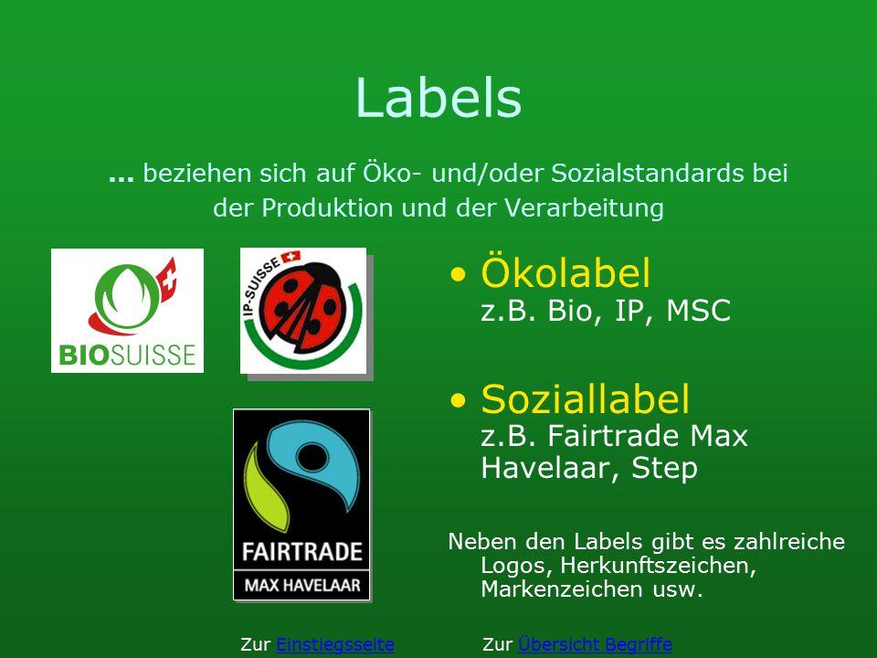 Labels... beziehen sich auf Öko- und/oder Sozialstandards bei der Produktion und der Verarbeitung Ökolabel z.B. Bio, IP, MSC Soziallabel z.B. Fairtrad