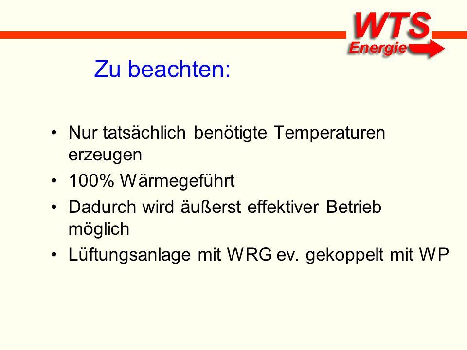 Zu beachten: Nur tatsächlich benötigte Temperaturen erzeugen 100% Wärmegeführt Dadurch wird äußerst effektiver Betrieb möglich Lüftungsanlage mit WRG