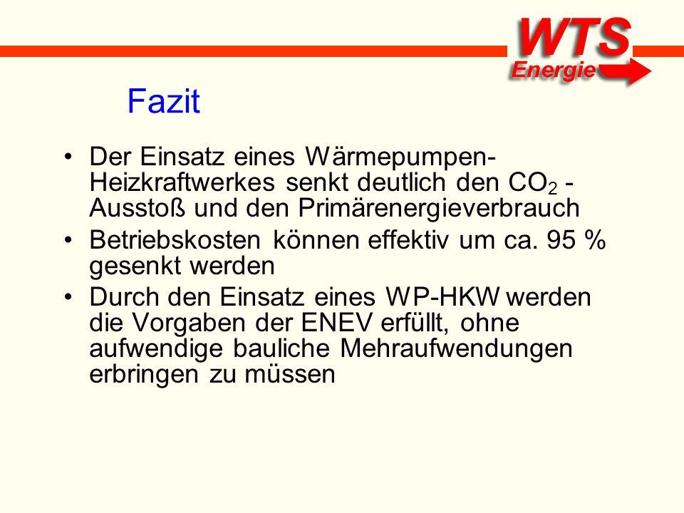 Fazit Der Einsatz eines Wärmepumpen- Heizkraftwerkes senkt deutlich den CO 2 - Ausstoß und den Primärenergieverbrauch Betriebskosten können effektiv u