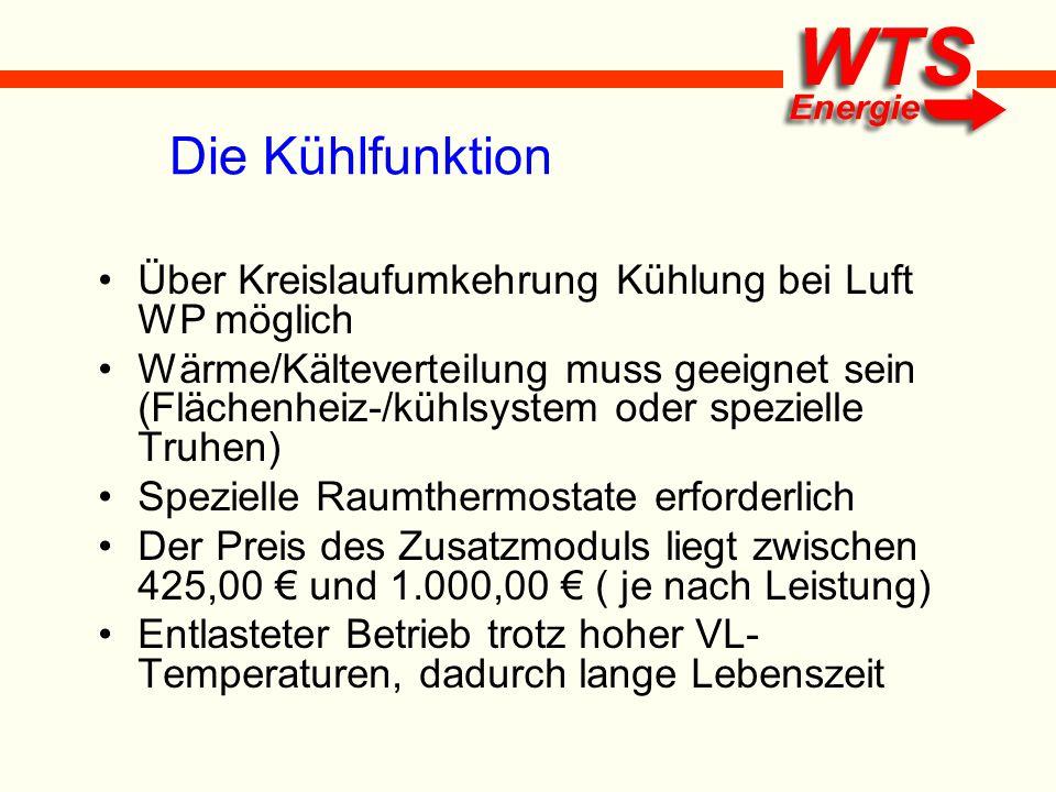 Die Kühlfunktion Über Kreislaufumkehrung Kühlung bei Luft WP möglich Wärme/Kälteverteilung muss geeignet sein (Flächenheiz-/kühlsystem oder spezielle