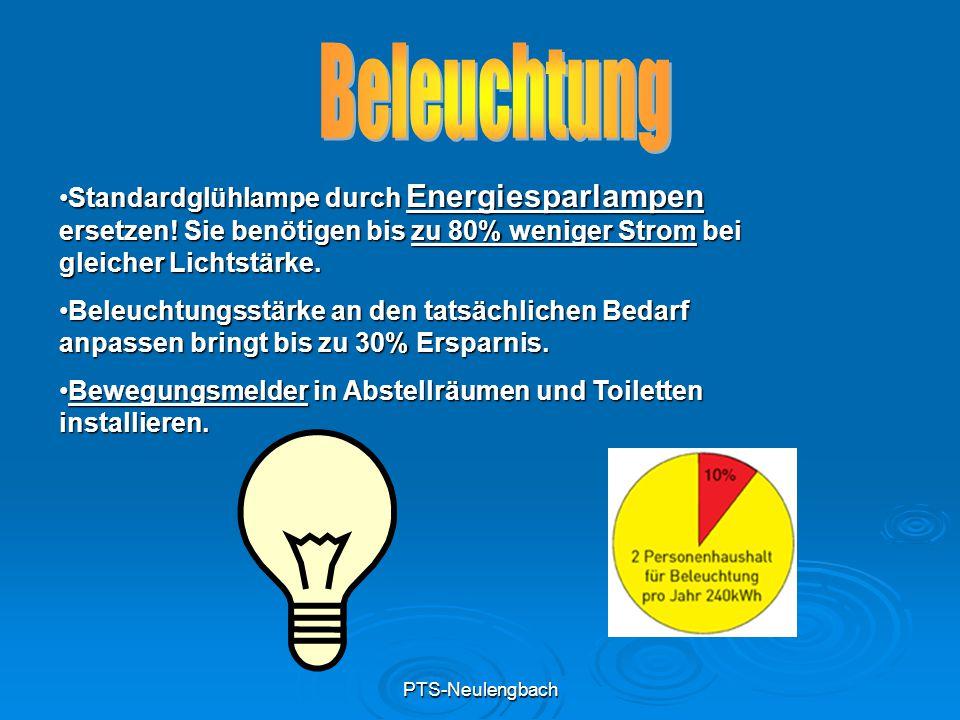 PTS-Neulengbach Standardglühlampe durch Energiesparlampen ersetzen! Sie benötigen bis zu 80% weniger Strom bei gleicher Lichtstärke.Standardglühlampe