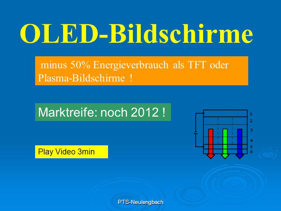 PTS-Neulengbach OLED-Bildschirme minus 50% Energieverbrauch als TFT oder Plasma-Bildschirme ! Marktreife: noch 2012 ! Play Video 3min