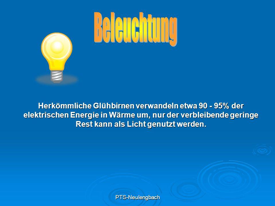 PTS-Neulengbach Herkömmliche Glühbirnen verwandeln etwa 90 - 95% der elektrischen Energie in Wärme um, nur der verbleibende geringe Rest kann als Lich