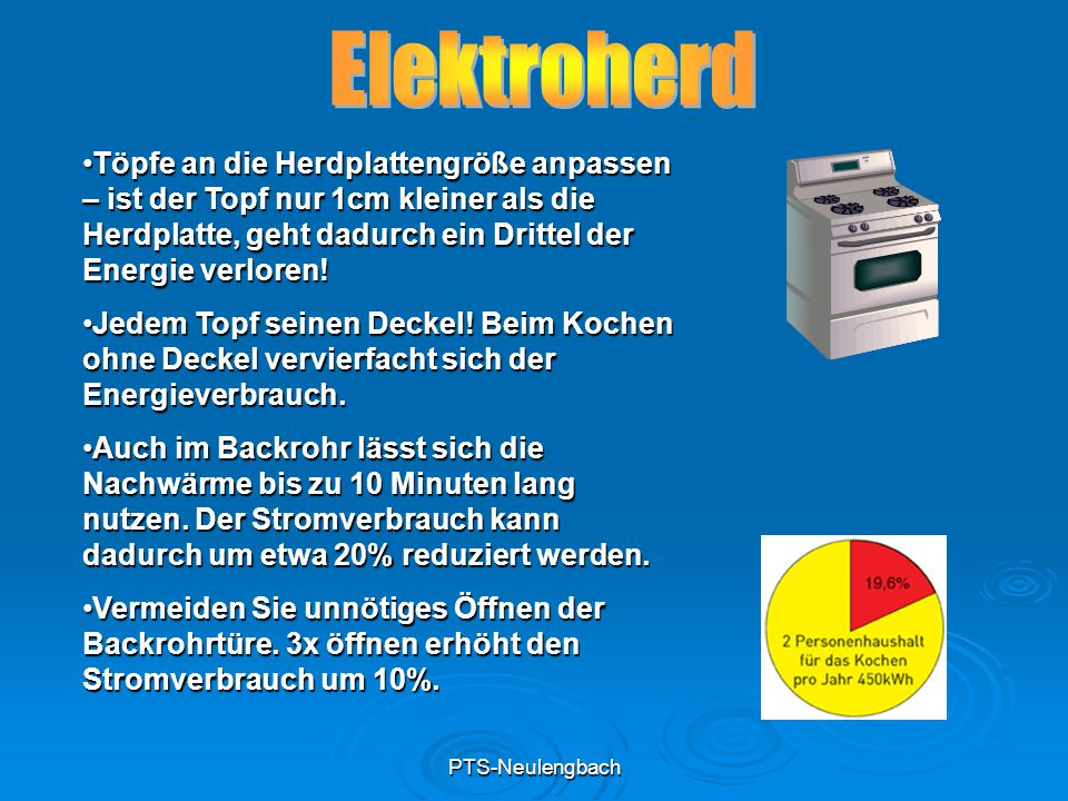 PTS-Neulengbach Töpfe an die Herdplattengröße anpassen – ist der Topf nur 1cm kleiner als die Herdplatte, geht dadurch ein Drittel der Energie verlore