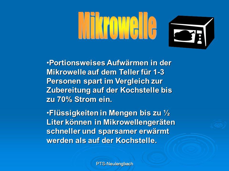 PTS-Neulengbach Portionsweises Aufwärmen in der Mikrowelle auf dem Teller für 1-3 Personen spart im Vergleich zur Zubereitung auf der Kochstelle bis z